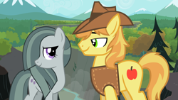 Size: 2064x1162 | Tagged: safe, braeburn, marble pie, pony, appleloosa, braeble, brokeback mountain, canyon, cliff, crack shipping, fanfic idea, female, ghastly gorge, gustavo santaolalla, looking at each other, love, lyrics in the description, male, mountain, mountain range, movie reference, outdoors, river, rock farm, romance, scenery, shipping, shipping fuel, smiling, straight, this will end in love, together, youtube link, youtube link in the description