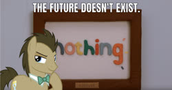 Size: 1223x645 | Tagged: safe, artist:abigailartist, artist:thisisitcollective, edit, edited screencap, editor:undeadponysoldier, screencap, doctor whooves, time turner, earth pony, pony, bust, caption, crossover, don't hug me i'm scared, forever, image macro, in character, irl, male, meme, nothing, photo, picture frame, ponies in real life, portrait, stallion, text, tony the talking clock