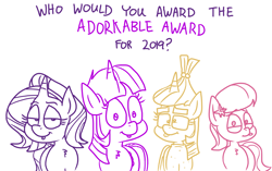Size: 4421x2784 | Tagged: safe, artist:adorkabletwilightandfriends, lily, lily valley, moondancer, starlight glimmer, twilight sparkle, alicorn, earth pony, pony, unicorn, comic:adorkable twilight and friends, adorkable, adorkable awards, adorkable awards 2019, adorkable twilight, best of 2019, cute, dork, tongue out, twilight sparkle (alicorn), vote