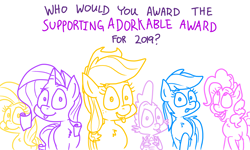 Size: 4779x2864 | Tagged: safe, artist:adorkabletwilightandfriends, applejack, fluttershy, pinkie pie, rainbow dash, rarity, spike, dragon, earth pony, pegasus, pony, unicorn, comic:adorkable twilight and friends, adorkable, adorkable awards, best of 2019, cute, dork, humor, tongue out, vote