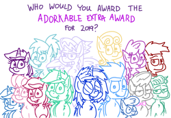 Size: 4779x3296 | Tagged: safe, artist:adorkabletwilightandfriends, amethyst star, berry punch, berryshine, big macintosh, bon bon, cheerilee, cloudchaser, dj pon-3, lyra heartstrings, minuette, octavia melody, roseluck, soarin', sparkler, sweetie drops, vinyl scratch, zephyr breeze, oc, oc:ellen, oc:trevor, earth pony, pegasus, pony, unicorn, comic:adorkable twilight and friends, adorabon, adorkable, adorkable awards, adorkable friends, awards, awwmethyst star, berrybetes, best of 2019, cheeribetes, cute, cutechaser, cuteluck, dork, humor, lyrabetes, macabetes, minubetes, tavibetes, tongue out, vinylbetes, vote, zephyrbetes