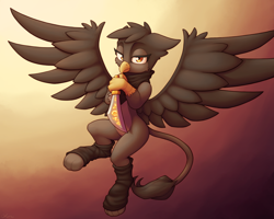 Size: 3000x2400 | Tagged: safe, artist:ohemo, oc, oc only, griffon, abstract background, bandana, female, flying, griffon oc, leg warmers, looking at you, solo, spread wings, sword, weapon, wings