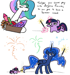 Size: 1029x1110 | Tagged: safe, artist:jargon scott, princess celestia, princess luna, twilight sparkle, alicorn, pony, unicorn, burning, cute, dialogue, female, fireworks, magic, mare, pure unfiltered evil, some mares just want to watch the world burn, sparkler (firework), telekinesis, this will end in fire, this will end in tears and/or a journey to the moon, twiabetes, twibitch sparkle, twiggie