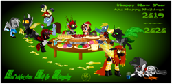 Size: 5000x2460 | Tagged: safe, artist:lakword, oc, oc:chloe adore, oc:cloud, oc:crypto, oc:doctiry, oc:hazard redmane, oc:kane, oc:lucky joe, oc:platan, oc:rubeencha, oc:vince, changeling, changeling queen, earth pony, pegasus, pony, unicorn, zebra, christmas, christmas changeling, clothes, cookie, cute, drink, eating, event, feast, female, food, green changeling, group, having fun, hearts and hooves day, holiday, jelly, kissing, lying down, male, mare, nectar, new year, outfits, relaxing, rudolph the red nosed reindeer, shiny, sitting, snacks, stallion, standing, winter outfit, yellow changeling