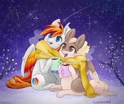 Size: 1795x1500 | Tagged: safe, artist:soapunicorn, oc, pegasus, pony, clothes, duo, scarf, shared clothing, shared scarf