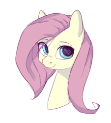 Size: 494x547 | Tagged: safe, artist:dzmaylon, fluttershy, pony, bust, cute, female, looking at you, mare, no catchlights, portrait, shyabetes, simple background, smiling, solo, stray strand, three quarter view, white background