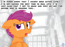 Size: 1920x1400 | Tagged: safe, artist:rainbow eevee, scootaloo, pegasus, pony, apology, cheek fluff, depressed, dialogue, female, filly, floppy ears, looking at you, monochrome background, open mouth, sad, solo, text