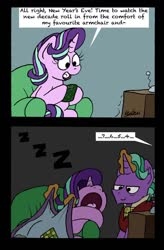 Size: 1024x1564 | Tagged: safe, artist:bobthedalek, firelight, starlight glimmer, pony, unicorn, blanket, comic, cute, dialogue, duo, father and daughter, fathers gonna father, female, firebetes, glimmerbetes, male, new year, new years eve, offscreen character, sleeping, speech bubble, volumetric mouth