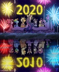 Size: 1712x2070 | Tagged: safe, artist:inuhoshi-to-darkpen, applejack, fluttershy, pinkie pie, rainbow dash, rarity, spike, twilight sparkle, alicorn, dragon, earth pony, pegasus, pony, unicorn, the last problem, 2010, 2020, cheek fluff, ear fluff, ear tufts, end of ponies, female, fireworks, happy new year, happy new year 2020, holiday, mane seven, mane six, mare, new year, night, older, older applejack, older fluttershy, older mane seven, older mane six, older pinkie pie, older rainbow dash, older rarity, older spike, older twilight, princess twilight 2.0, rear view, reflection, self dragondox, self ponidox, sky, spread wings, stars, time skip, twilight sparkle (alicorn), unicorn twilight, wing fluff, winged spike, wings