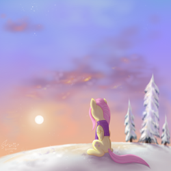 Size: 2666x2666 | Tagged: safe, artist:flutterstormreturns, fluttershy, pegasus, pony, clothes, dawn, facing away, female, folded wings, looking away, mare, outdoors, sitting, sky, snow, solo, sweater, sweatershy, tree, wings, winter