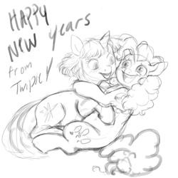 Size: 4000x4000 | Tagged: safe, artist:misstwipietwins, pinkie pie, twilight sparkle, earth pony, pony, unicorn, female, happy new year, holiday, lesbian, monochrome, shipping, sketch, twinkie
