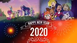 Size: 1024x576 | Tagged: safe, artist:cartoonmasterv3, applejack, fluttershy, pinkie pie, rainbow dash, rarity, spike, twilight sparkle, alicorn, dragon, earth pony, pegasus, pony, unicorn, the last problem, spoiler:s09e26, dc superhero girls, happy new year, happy new year 2020, holiday, mane seven, mane six, older, older applejack, older fluttershy, older mane 6, older mane 7, older pinkie pie, older rainbow dash, older rarity, older spike, older twilight, princess twilight 2.0, twilight sparkle (alicorn), winged spike