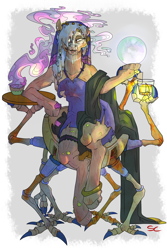 Size: 3000x4500 | Tagged: safe, artist:sourcherry, oc, unnamed oc, earth pony, ghoul, pony, robot, undead, fallout equestria, alcohol, clothes, crystal ball, herbs, looking at you, seer, sitting, smoke, solo, wasteland ventures, whiskey