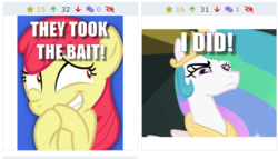 Size: 517x295 | Tagged: safe, apple bloom, princess celestia, derpibooru, caption, celestia is not amused, giggling, glare, image macro, juxtaposition, juxtaposition win, meme, meta, text, unamused