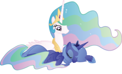 Size: 4820x2930 | Tagged: absurd resolution, alicorn, artist:wraithx79, crown, cute, cutelestia, daaaaaaaaaaaw, duo, duo female, ethereal mane, eyes closed, female, high res, hnnng, hoof shoes, jewelry, lunabetes, mare, princess celestia, princess luna, prone, regalia, royal sisters, s1 luna, safe, siblings, simple background, sisterly love, sisters, sleeping, transparent background, vector