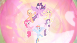 Size: 1670x939 | Tagged: alicorn, applejack, earth pony, ethereal mane, floating, fluttershy, glowing eyes, group, holding hooves, magic of friendship, mane six, pegasus, pinkie pie, pony, rainbow dash, rarity, safe, screencap, spoiler:s09e01, spoiler:s09e02, spread wings, the beginning of the end, twilight sparkle, twilight sparkle (alicorn), unicorn, wings