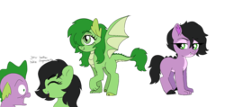 Size: 1900x901 | Tagged: artist:unoriginai, canon x oc, derpibooru exclusive, dracony, dragon, female, filly, hybrid, implied sex, interspecies offspring, male, oc, oc:filly anon, offspring, parent:oc:filly anon, parents:canon x oc, parent:spike, pony, safe, shipping, simple background, speech bubble, spike, straight, text, transparent background