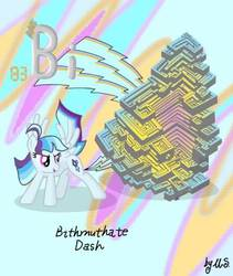 Size: 375x445 | Tagged: safe, artist:mercurysparkle, oc, oc:bismuthate dash, object pony, original species, pegasus, bismuth, element pony, periodic table, ponified, solo