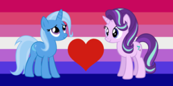 Size: 1282x640 | Tagged: safe, starlight glimmer, trixie, pony, bisexual pride flag, female, lesbian, pride, shipping, shipping domino, special edition shipping domino, startrix