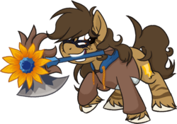 Size: 1176x825 | Tagged: safe, artist:binkyt11, derpibooru exclusive, oc, oc only, oc:binky, earth pony, hybrid, pony, zebra, zebroid, zony, derpibooru community collaboration, axe, brawlhalla, clothes, female, flower, freckles, hoodie, mare, mouth hold, rayman, simple background, solo, sunflower, transparent background, unshorn fetlocks, weapon