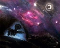 Size: 2267x1835 | Tagged: artist:ampderg, nebula, night, night sky, oc, oc only, painting, pegasus, safe, sky, solo, space, traditional art