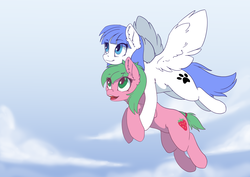 Size: 3508x2480 | Tagged: safe, artist:arctic-fox, oc, oc only, oc:pine berry, oc:snow pup, earth pony, pegasus, pony, carrying, cute, female, flying, happy, holding, holding a pony, mare, open mouth, sky, smiling, spread wings, wings