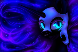 Size: 3000x2000 | Tagged: abstract background, alicorn, artist:avrameow, female, glowing eyes, helmet, mare, nightmare moon, pony, safe, solo, stars