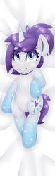 Size: 2125x6802 | Tagged: alternate version, artist:partylikeanartist, blushing, body pillow, colored pupils, cute, dakimakura cover, dakimakura for christmas, female, from above, frown, gradient hooves, grumpy, laying on bed, looking at you, lying down, mare, oc, ocbetes, oc:indigo wire, oc only, on back, pony, ponytail, safe, shy, solo, unicorn, wingding eyes