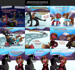 Size: 2104x1969 | Tagged: artist:wiggles, ask, ask king sombra, ask pun, blood, brown changeling, changeling, cloak, clothes, earth pony, king sombra, leg, oc, oc:coffee talk, oc:dominus, oc:pun, pony, pun, saddle bag, safe, snow, tumblr, unicorn