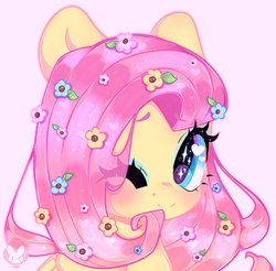 Size: 4063x4000 | Tagged: absurd resolution, artist:bunxl, bust, cute, eye clipping through hair, eye sparkles, female, flower, flower in hair, fluttershy, heart eyes, mare, one eye closed, pegasus, pink background, pony, portrait, safe, shyabetes, simple background, solo, white background, wingding eyes, wink