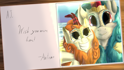 Size: 2443x1375 | Tagged: safe, artist:firefanatic, autumn blaze, rain shine, kirin, beach, big grin, crown, cute, fluffy, grin, jewelry, picture, postcard, regalia, selfie, smiling, text