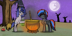 Size: 3500x1755 | Tagged: artist:nguyendeliriam, cauldron, fire, hat, headphones, nightmare moon, oc, oc:moonlit silver, oc:smooth walker, potion, purple background, safe, simple background, witch hat