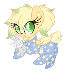 Size: 2000x2178 | Tagged: artist:starlightlore, chibi, clothes, cute, deer, deer pony, doe, oc, oc:mia mesa, oc only, onesie, original species, pajamas, peryton, plushie, safe, simple background, stars, transparent background