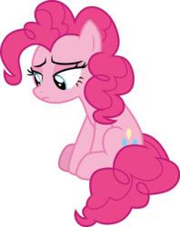 Size: 3000x3789 | Tagged: safe, artist:cloudyglow, pinkie pie, earth pony, pony, a trivial pursuit, .ai available, female, mare, sad, simple background, sitting, solo, transparent background, vector