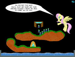 Size: 600x450 | Tagged: safe, artist:quint-t-w, fluttershy, pegasus, pony, crossover, dialogue, flying, lemmings, old art, single panel, video game crossover