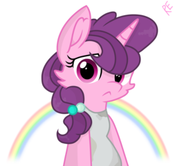 Size: 1098x1049 | Tagged: artist:rainbow eevee, bipedal, clothes, cute, female, looking at you, pony, rainbow, safe, simple background, solo, sticker, sugar belle, tanktop, transparent background, unicorn