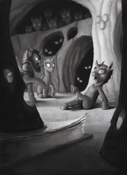 Size: 1200x1650 | Tagged: safe, artist:sa1ntmax, changeling, fanfic:that changeling's a pony!, changeling hive, commission, fanfic art, grayscale, illustration, monochrome