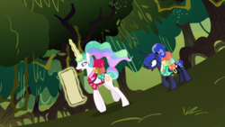 Size: 1920x1080 | Tagged: between dark and dawn, forest, princess celestia, princess luna, safe, screencap, scroll, spoiler:s09e13, swamp