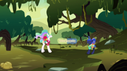 Size: 1920x1080 | Tagged: angry, between dark and dawn, forest, princess celestia, princess luna, safe, screencap, scroll, spoiler:s09e13, swamp