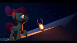 Size: 1920x1080 | Tagged: apple bloom, artist:skylairo, cutie mark, earth pony, glowing eyes, hill, lamp, lantern, light, pony, safe, sky, solo, stars