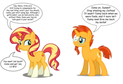 Size: 8557x5842 | Tagged: accessory theft, brother and sister, edit, editor:wild stallions, female, male, playful, ponies wearing sunburst's socks, pony, safe, sfw edit, siblings, socks (coat marking), speech bubble, sunburst, sunny siblings, sunset shimmer, unicorn, vector
