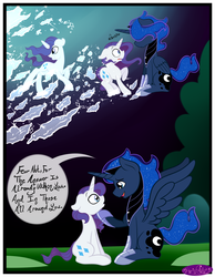 Size: 3500x4500 | Tagged: alicorn, artist:becauseimpink, comic, comic:transition, elusive, ethereal mane, hoof shoes, male, peytral, pony, prince artemis, princess luna, raised hoof, rarity, rule 63, safe, sitting, speech, stallion, starry mane, unicorn