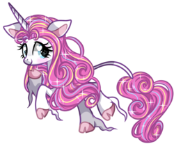 Size: 1657x1371 | Tagged: artist:moonraige, artist:peachesandcreamated, blushing, classical unicorn, cloven hooves, female, floppy ears, heart eyes, hoof fluff, leonine tail, long feather, looking back, mare, oc, oc:glitter glitz, oc only, pony, safe, simple background, smiling, solo, starry eyes, transparent background, underhoof, unicorn, unshorn fetlocks, wingding eyes