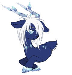 Size: 900x936 | Tagged: artist:peachesandcreamated, crystalline, deer, deer pony, hair over one eye, oc, oc:dream shard, original species, prone, safe, simple background, smiling, solo, transparent background, unshorn fetlocks