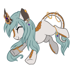 Size: 900x900 | Tagged: artist:peachesandcreamated, curved horn, ear piercing, earring, eyes closed, horn, horn ring, jewelry, leonine tail, oc, oc only, piercing, pony, safe, simple background, smiling, solo, tail ring, transparent background, unicorn