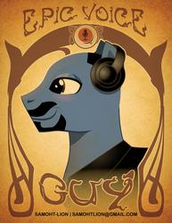 Size: 2550x3300 | Tagged: safe, artist:samoht-lion, oc, oc only, oc:epic voice pony, earth pony, pony, beard, bust, earth pony oc, facial hair, headphones, male, moustache, smiling, solo, stallion, text