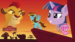 Size: 4000x2250 | Tagged: safe, artist:samoht-lion, twilight sparkle, oc, oc:ilovekimpossiblealot, big cat, lion, pegasus, pony, unicorn, bust, eyes closed, female, grin, male, mare, pride rock, simba, smiling, the lion king, title card, unicorn twilight