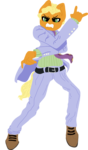 Size: 944x1618 | Tagged: safe, artist:nootaz, oc, oc:rapid rescue, anthro, earth pony, pony, anatomically incorrect, angry, clothes, commission, cosplay, costume, devil horn (gesture), jojo's bizarre adventure, male, necktie, pose, simple background, stallion, suit, transparent background, yoshikage kira