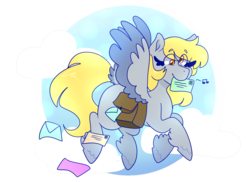 Size: 1280x932 | Tagged: artist:cubbybatdoodles, cloud, colored wings, derpy hooves, envelope, female, flying, hoof fluff, mailbag, mailmare, mare, missing cutie mark, mouth hold, music notes, pegasus, pony, safe, simple background, solo, spread wings, tail feathers, transparent background, two toned wings, wings