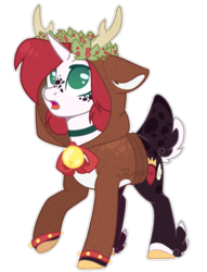 Size: 1280x1672 | Tagged: artist:sweetie-drawz, base used, clothes, deer, deer pony, female, hoodie, oc, oc:berry, original species, safe, simple background, solo, transparent background